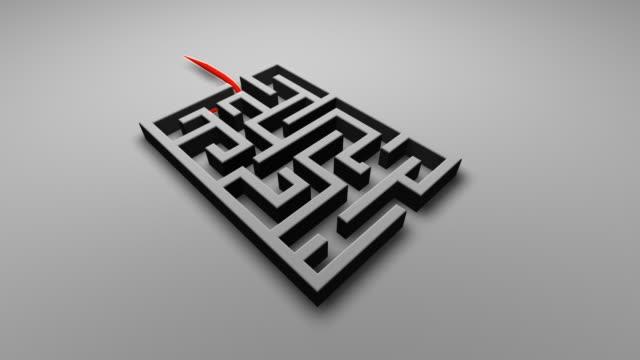vidéos et rushes de labyrinthe avec ligne rouge illustrant la route - évasion