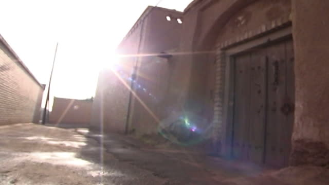 mazraeh-ye kalantar. view of the entrance to a zoroastrian house designed in the traditional way in the village of mazraeh-ye kalantar in yazd... - yazd province stock videos & royalty-free footage