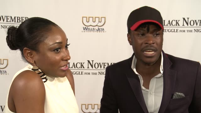 mbong amata and jeta amata on playing annikio reid briggs in the film at black november screening in washington dc at the john f kennedy center for... - john f. kennedy center for the performing arts stock videos and b-roll footage