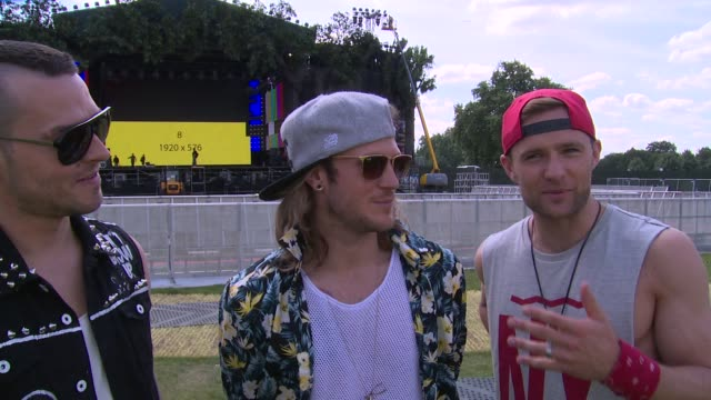 stockvideo's en b-roll-footage met interview mcbusted on headlining backstreet boys track choice and fellow performers at british summer time with mcbusted on 2nd july 2014 in london... - jongensband