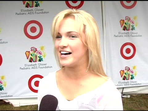 mccall clark on performing at the event at the target 'a time for heros' celebrity carnival to benefit the elizabeth glaser pediatric aids foundation... - アタイムフォーヒーローズ点の映像素材/bロール