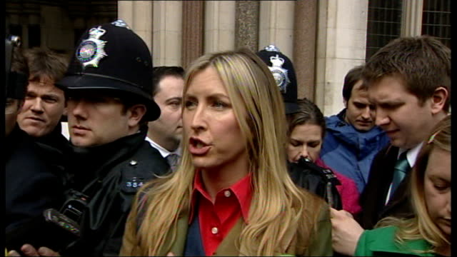 mccartney divorce hearing: heather mills speaking to press outside court; heather mccartney speaking to press sot - on beatrice's income of 35,000... - sibling stock videos & royalty-free footage