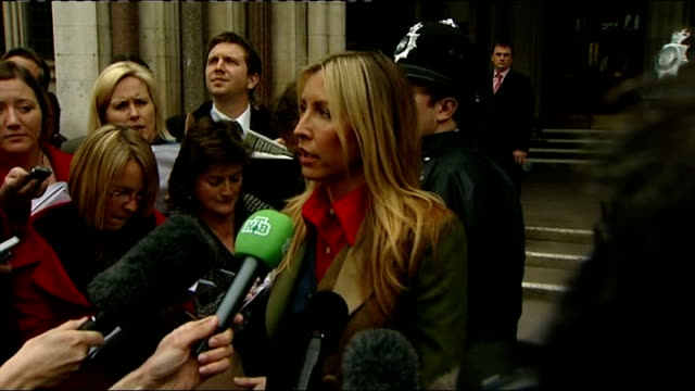 judge announces settlement england london high court ext heather mills out of court and towards press heather mills press speaking to press sot glad... - beatrice mccartney stock videos & royalty-free footage