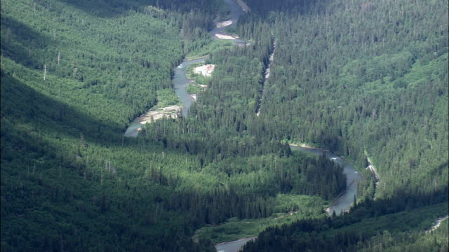 mcdonald creek valley  - aerial view - montana, flathead county, united states - mcdonald creek stock videos & royalty-free footage