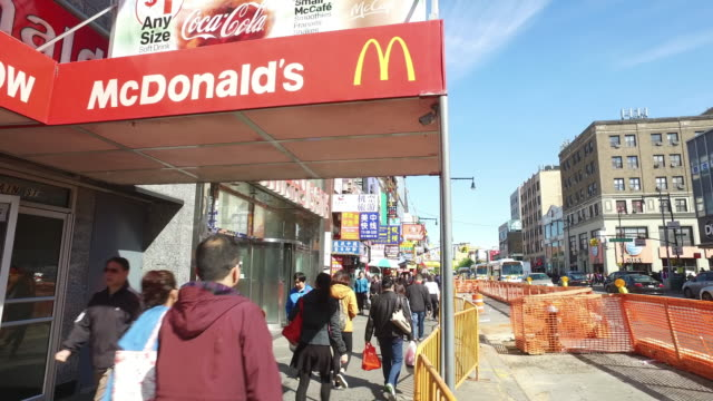 mcdonald's and traffic in flushing, queens, new york city - mcdonald's stock videos and b-roll footage