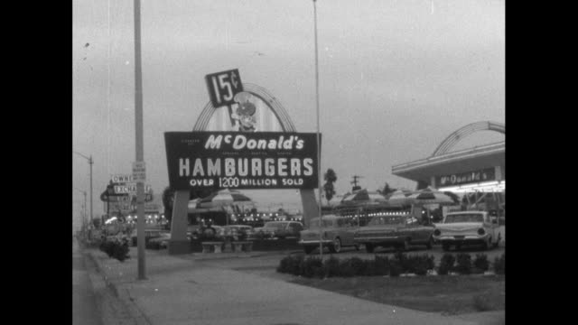 mcdonald's restaurant signage in the usa; 1964 - advertisement stock videos & royalty-free footage