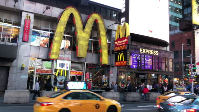 mcdonald's store on times square - mcdonald's stock videos & royalty-free footage