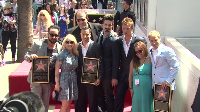 aj mclean howie dorough kevin richardson brian littrell andnick carter at backstreet boys celebrate 20 year career with star on the hollywood walk of... - backstreet boys stock videos & royalty-free footage