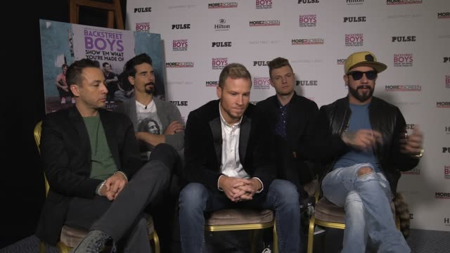 interview a j mclean howie dorough nick carter kevin richardson brian littrell on 'take that' going to 3 being a five again fighting married to each... - boy band stock videos & royalty-free footage