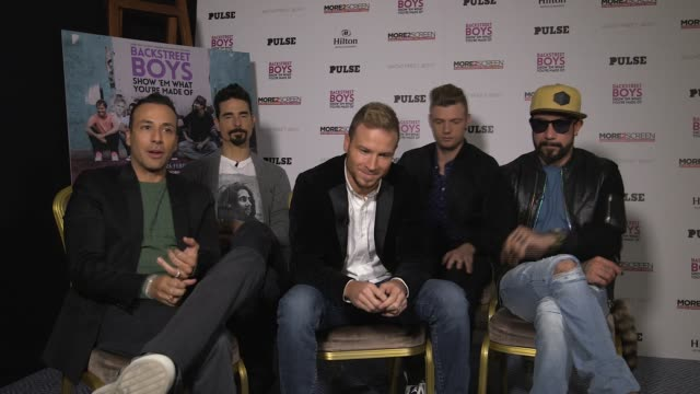 mclean,howie dorough, nick carter, kevin richardson, brian littrell on breaking london, top of the pops, sing after the premiere, not being english... - トップオブザポップス点の映像素材/bロール