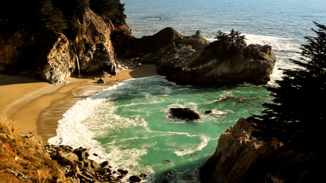 mcway falls, julia pfeiffer state park, big sur, california, usa - state park stock videos & royalty-free footage
