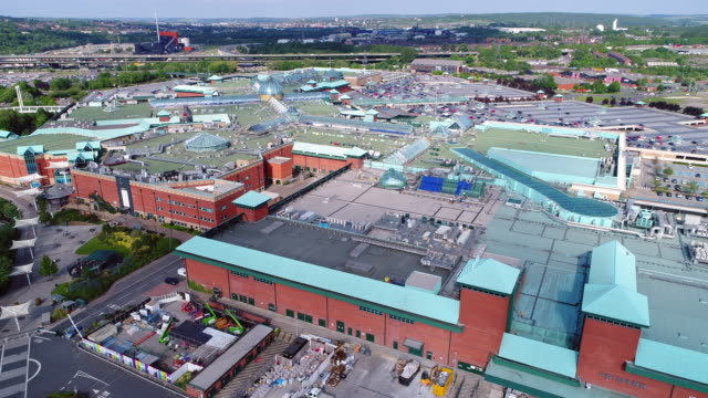 meadowhall approaching west side 4k aerial video - sheffield stock videos and b-roll footage