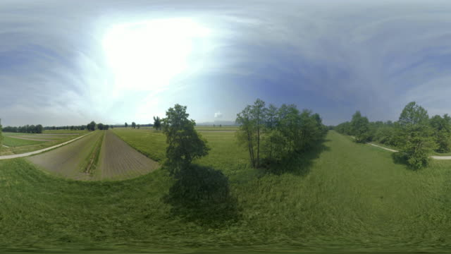 AERIAL VR 360: Meadows in sunshine