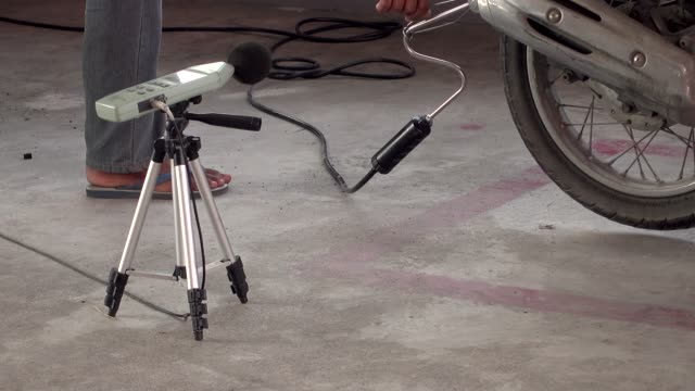 measure sound from motorcycle - sound recording equipment stock videos & royalty-free footage