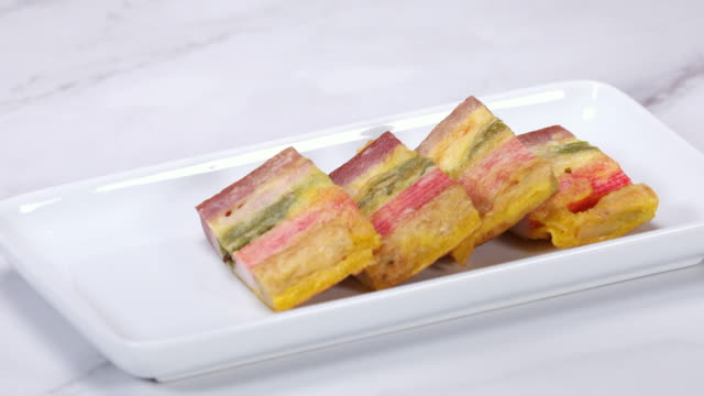 meat and vegetable skewers (or sanjeok, korea traditional festival foods) on the plate - capodanno coreano video stock e b–roll
