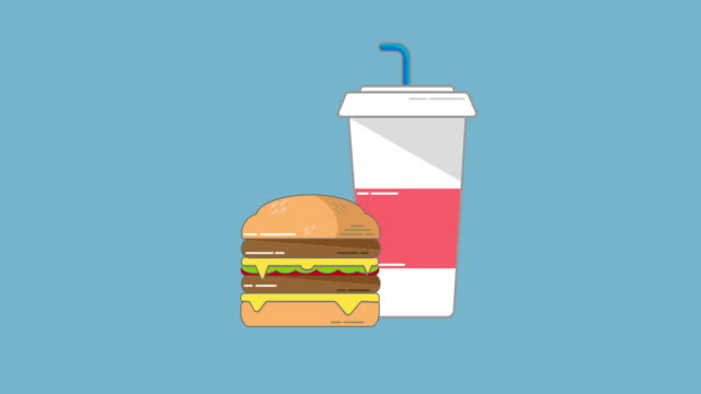 meat burger and drink icon. - ketchup stock videos and b-roll footage