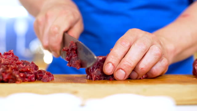 meat cutting, slo mo - cooking utensil stock videos & royalty-free footage