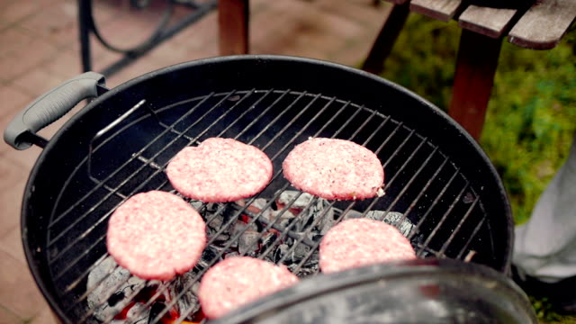Meat on a barbecue grill