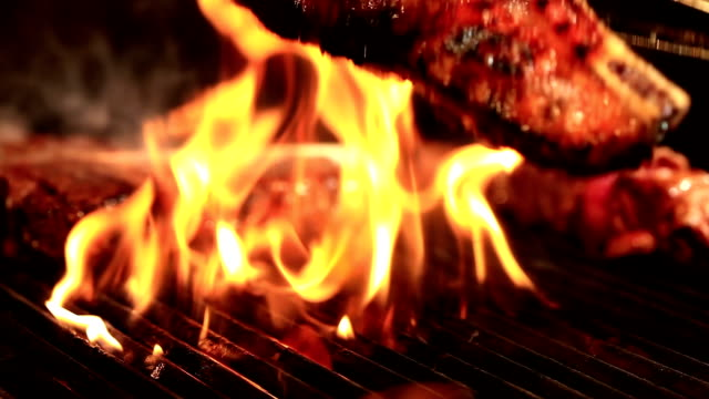 meat on barbecue grill - grilled stock videos and b-roll footage