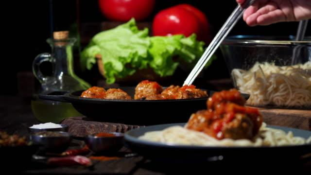 meatball spaghetti - wood plate stock videos & royalty-free footage