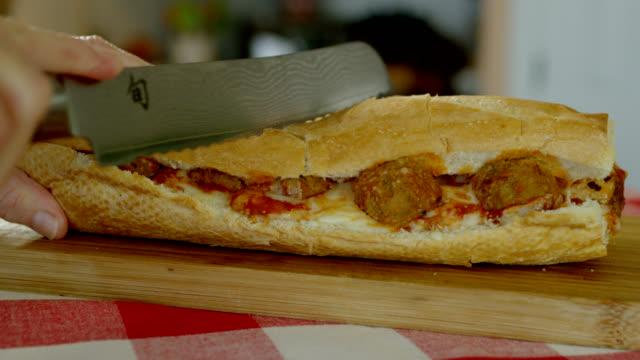 vídeos de stock e filmes b-roll de meatball sub - sanduíche