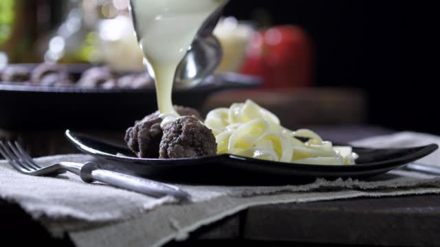 meatballs and tagliatelle - meatballs stock videos & royalty-free footage