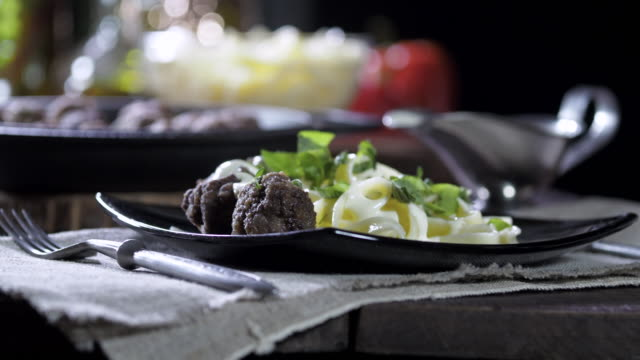 meatballs and tagliatelle - tagliatelle stock videos and b-roll footage
