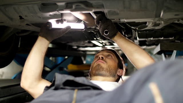 mechanic working on a vehicle in a car service. - quality control stock videos & royalty-free footage