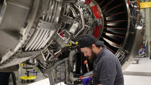 mechanic working on leap jet engine at ge aviation assembly plant lafayette indiana us on friday july 19 2019 - propeller stock videos & royalty-free footage