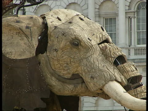 mechanical girl and sultan's elephant walk streets of london audience watching and taking pictures / elephant sprays girl's legs with water / more... - horse guards parade stock videos and b-roll footage