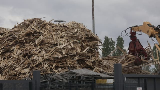 mechanical pliers working on a wood pallet recycling site on june 17, 2020 in flins, france - wood material stock videos & royalty-free footage