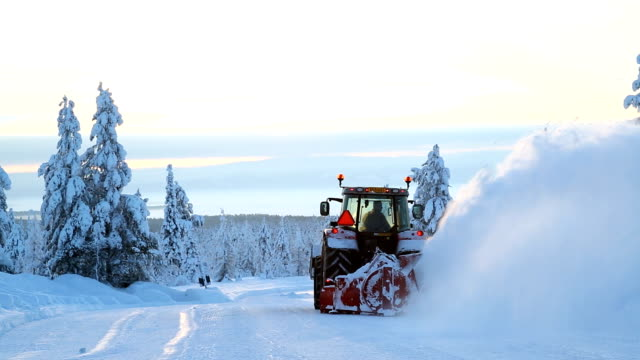 mechanical snow clearing machine forest road riisitunturi np finland - peter snow stock videos & royalty-free footage