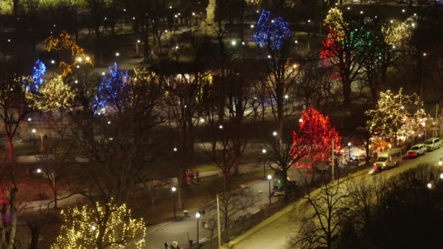 med aerial tl  of illuminated trees in boston common after christmas tree lighting ceremony. static shot - christmas tree lighting ceremony stock videos & royalty-free footage