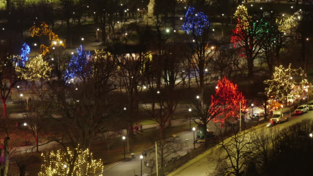 med aerial tl  of illuminated trees in boston common after christmas tree lighting ceremony. zoom in - christmas tree lighting ceremony stock videos & royalty-free footage