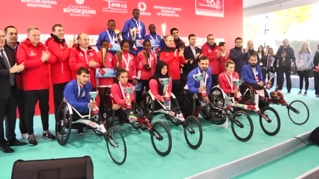Medal ceremony for the winners of the 38th Vodafone Istanbul Marathon the world's only road race where people can run from Asia to Europe in Istanbul...