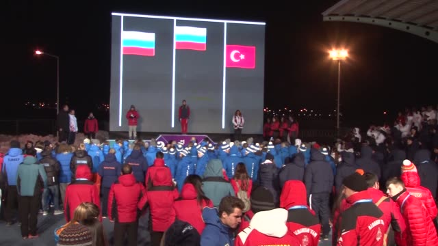 medal ceremony for winners of the girls/boys snowboard parallel giant slalom and girls' alpine skiing parallel giant slalom during the european youth... - alpine skiing stock videos & royalty-free footage
