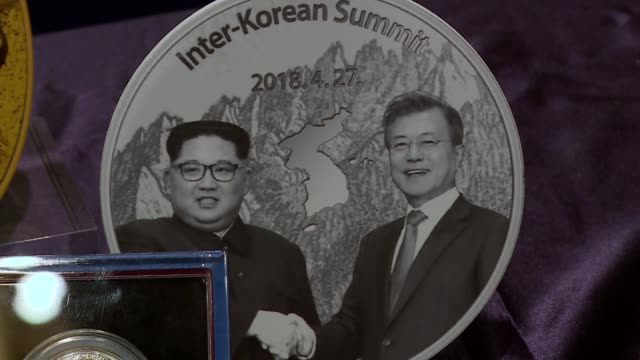 medallions to commemorate the historical interkorean and north koreaus summits are unveiled in seoul - south korea stock videos and b-roll footage