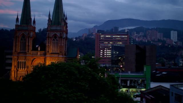 Medellin City Center at Night, Colombia