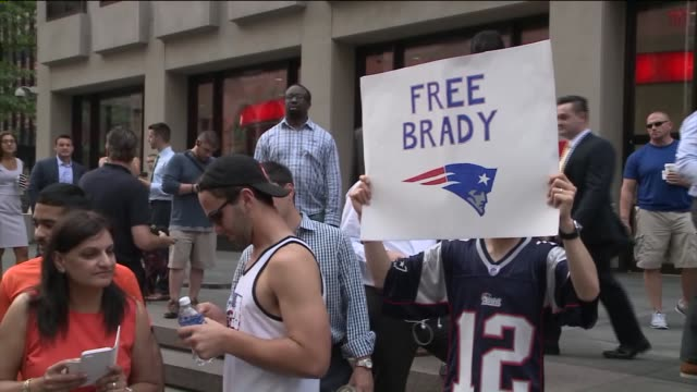 Media and football fans gathered outside of NFL Headquarters in NYC for Tom Brady's appeal for his four game suspension