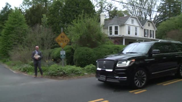 Media and onlookers gather as former vice president Joe Biden holds first campaign fundraiser at Comcast executive David Cohen and wife's house in...
