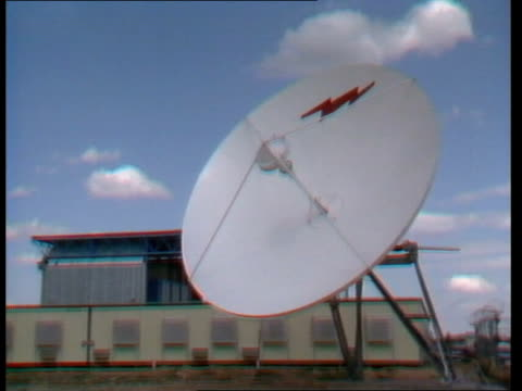 bophuthatswana tv station; satellite receiving dish pull outgv people working in newsroomfacilities area r-l to journalistgv control room - bophuthatswana stock videos & royalty-free footage
