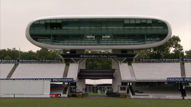 A Media Center hangs over the entrance to the Lord's Cricket Ground in London. Available in HD.