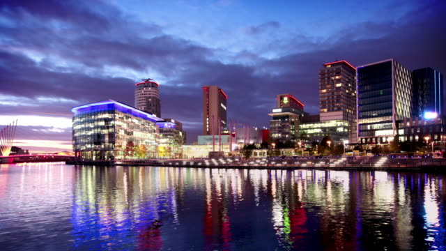 media city in salford quays, manchester, uk - manchester england stock videos and b-roll footage