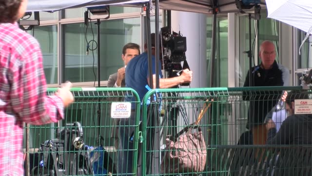 stockvideo's en b-roll-footage met media coverage of taylor swift vs david mueller trial in denver was crowded into the corral for media outside the federal us district courthouse in... - omsloten ruimte