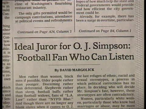 US media reaction CS 'The New York Times' masthead PAN LR CS Headline 'Ideal juror for OJ Simpson football fan who can listen' CMS Howard Kurtz...