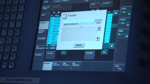 media technology inside a broadcast news station media file transfer on monitor on july 24, 2013 in new york, new york - exchanging stock videos & royalty-free footage