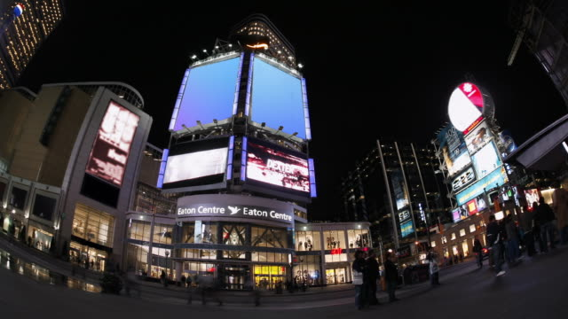 t/l, ms, fish eye, media tower, yonge-dundas square at night, toronto, ontario, canada - wide angle stock videos & royalty-free footage
