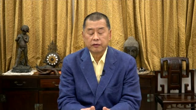media tycoon and democracy campaigner jimmy lai on protests and his arrest; england: london: gir: int jimmy lai 2-way interview from hong kong sot. - krishnan guru murthy stock videos & royalty-free footage