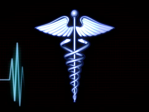 medical background - caduceus with heartbeat monitor - pulsating energy stock videos and b-roll footage