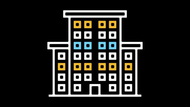 vídeos de stock, filmes e b-roll de medical center building linha ícone animação com alfa - ícone de linha